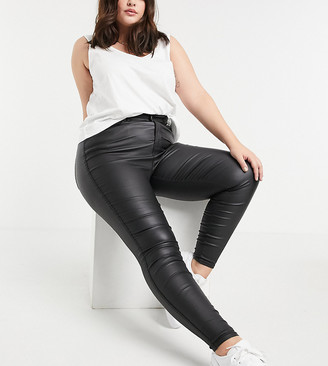 Dr Denim Plus Moxy sky-high skinny coated jeans in black