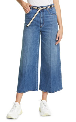 Stella McCartney Belted High Waist Crop Wide Leg Jeans