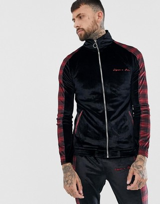 N. Liquor Poker zip-through sweat in plaid-Multi