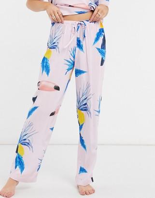 ASOS DESIGN mix & match toucan print 100% modal pajama trouser in pink