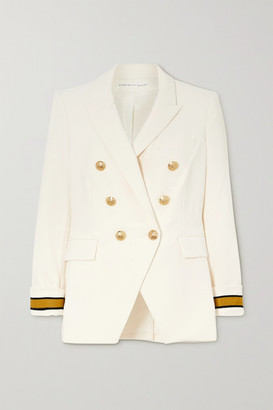 Veronica Beard Timber Dickey Double-breasted Grosgrain-trimmed Crepe Blazer - White