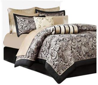 Madison Home USA Jacquard 12-Piece Comforter Set With Piping, Black, King
