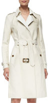 Burberry Calf-Fur Double-Breasted Extra-Long Trenchcoat, White
