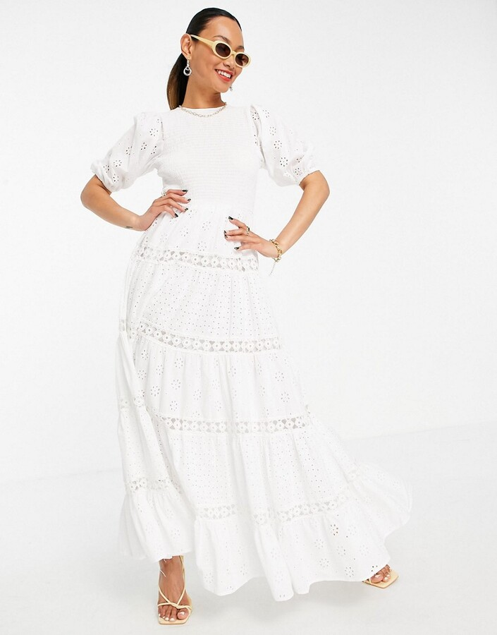 ASOS DESIGN shirred mixed broderie tiered maxi dress with lace inserts in white