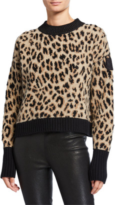 Moncler Wool/Cashmere Leopard Knit Sweater