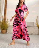 Reborn Collection Women's Maxi Dresses Fuchsia - Fuchsia & Black Ruffle Sleeve Maxi Dress - Women