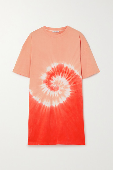 Ninety Percent + Net Sustain Tie-dyed Organic Cotton-jersey Mini Dress - Coral