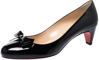 Christian Louboutin Black Patent Leather Minima Bow Pumps Size 38.5