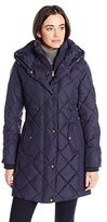Larry Levine Women's Diamond-Quilted Down Coat with Hood
