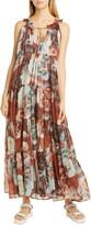 Fuzzi Floral Print Tiered Cotton Maxi Dress