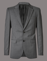 Autograph Grey Textured Tailored Fit Wool Jacket