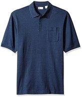 Haggar Men's Big and Tall Short Sleeve Minibox Knit Polo, Midnight Navy, 3X