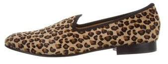 Del Toro Animal Print Ponyhair Smoking Slippers w/ Tags