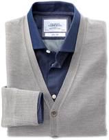 Charles Tyrwhitt Silver merino wool cardigan