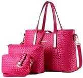 ROYAL WIND 3PCS/SET Women PU Leather Satchel Handbag Shoulder Messenger Crossbody Bag Wallet