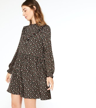 New Look Floral Frill High Neck Smock Dress
