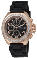 Freelook Women's HA1137RG-1 Aquamarina rose gold plated stainless steel Case Black Dial Black Silicon Band Watch