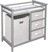 Badger Basket Modern Changing Table With 3 White Baskets - Gray