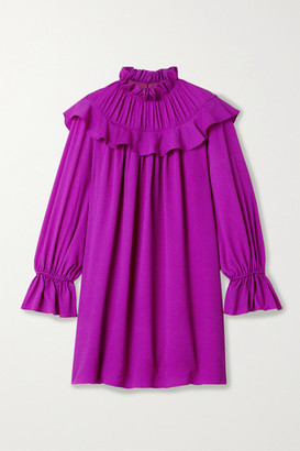 Arias ARIAS - Ruffled Crinkled Stretch Silk-crepe Mini Dress - Magenta