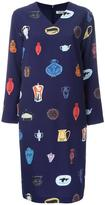 Taro Horiuchi vase print V-neck dress - women - Polyester - One Size