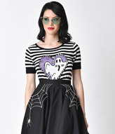 Hell Bunny Black & White Stripe Boo Ghost Top