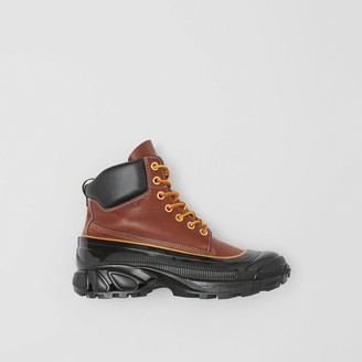 Burberry Contrast Sole Leather Boots