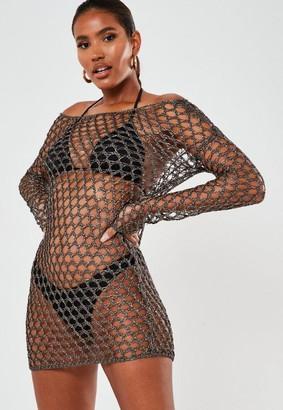 Missguided Hexagon Off Shoulder Crochet Beach Dress