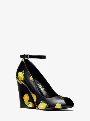Michael Kors Julianne Lemon-Print Leather Peep-Toe Pump