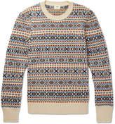 Kent & Curwen Fair Isle Wool, Mohair And Silk-blend Sweater - White