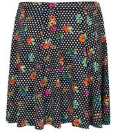 Select Fashion Fashion Womens Black Spot Fruit Print Skater Skirt - size 8
