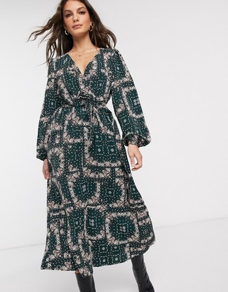 Vila wrap maxi dress in paisley print
