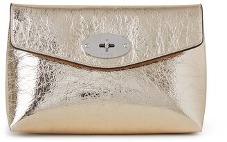 Mulberry Darley Cosmetic Pouch Light Gold Crushed Metallic Leather