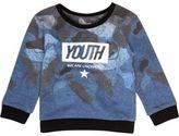 River Island Mini boys blue 'Youth' print sweatshirt