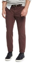 Brunello Cucinelli Flat-Front Cotton Pants, Maroon