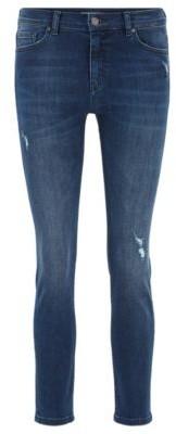 HUGO BOSS Slim-fit jeans in mid-blue super-stretch denim