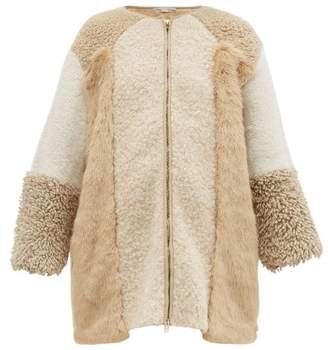 Stella McCartney Panelled Faux Fur And Faux Shearling Coat - Womens - Beige Multi