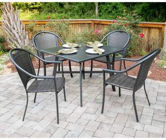 Charlton Home Bearden 5-Piece Commercial-Grade All-Weather Patio Set with 4 Woven Dining Chairs and a 38-In. Aluminum Slat-Top Dining Table Charlton Home
