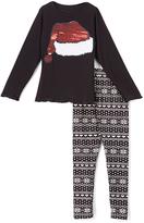 Beary Basics Black Santa Hat Long-Sleeve Tee & Leggings - Toddler & Girls