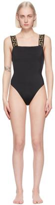 Versace Underwear Black Greca Border One-Piece Swimsuit