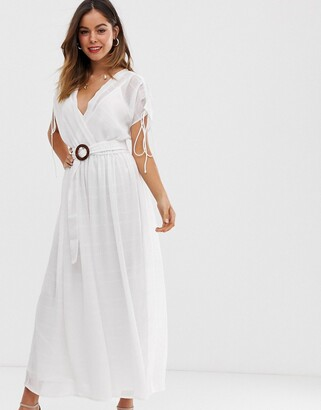 Asos Design DESIGN wrap front maxi dress with buckle belt in self stripe-White