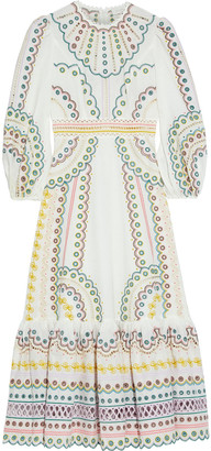 Zimmermann Peggy Broderie Anglaise Linen And Cotton-blend Midi Dress
