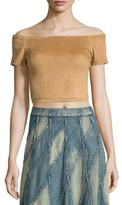Alice + Olivia Gracelyn Suede Off-the-Shoulder Cropped Top, Tan
