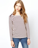 Ganni Breton Stripe T-Shirt with Long Sleeves