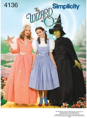 Simplicity Women's Wizard of Oz Characters Costumes Sewing Pattern, 4136, HH