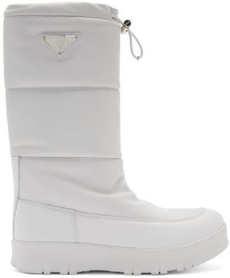 Prada White Leather Moon Boots