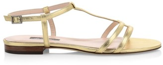 Sarah Jessica Parker Honoree Flat Metallic Leather Sandals