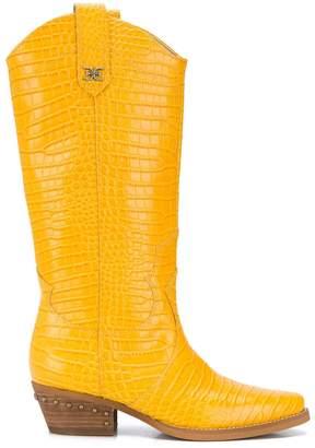 Sam Edelman crocodile embossed cowboy boots