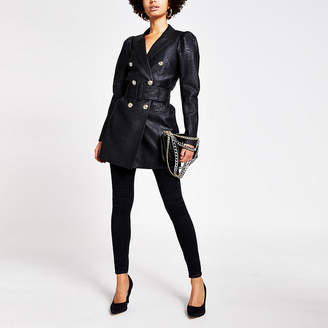 River Island Black faux leather puff sleeve belted blazer