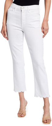 Alice + Olivia Jeans Stunning Scallop High-Rise Straight-Leg Jeans