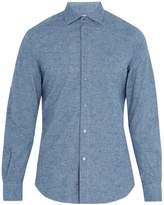 Boglioli Regular-fit single-cuff cotton-fleck shirt